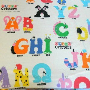 Vintage 1985 Alpha Critters Twin Flat Sheet